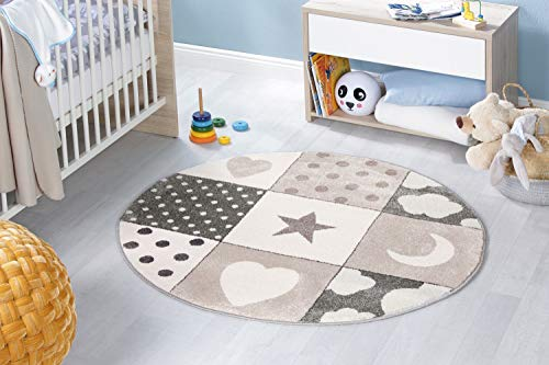 Kinderteppich Mädchen Jungen Spielteppich Teppich Kinderzimmer Babyteppich Rund Motiv Sterne Mond Herz Farbe Grau Beige Creme Größe 120 cm
