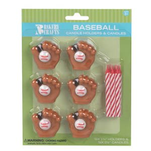 Oasis Supply Wax Baseball Holder with Birthday Candles