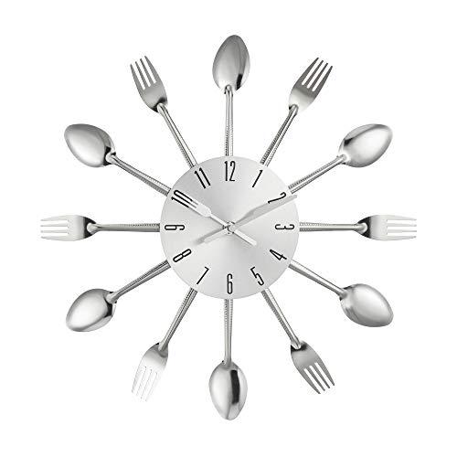 Cepewa Wanduhr Besteck 25 cm Silber Uhr Dekouhr Küche Deko Kochen Küchenuhr Geschenk (1 x Wanduhr Silber)