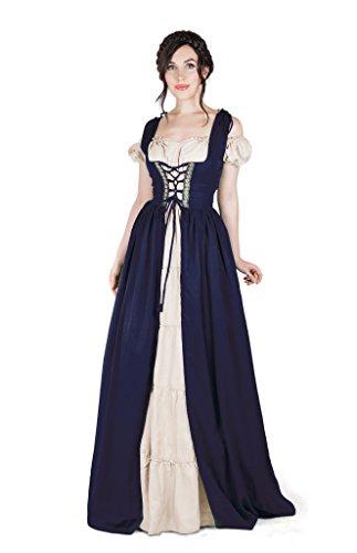 Boho Set Medieval Irish Costume Chemise and Over Dress (L/XL, Indigo)
