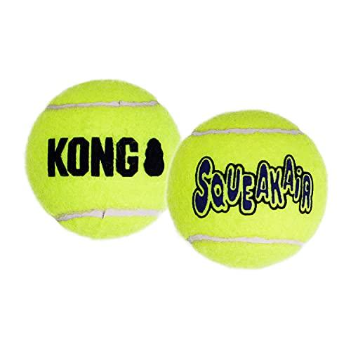 KONG - Squeakair Balls - Pelotas de Tenis sonoras Que respetan Sus Dientes - para Perros de Raza Grande (Pack de 2)