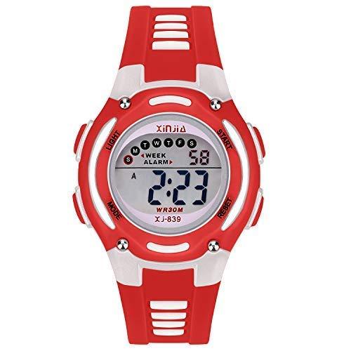 Reloj Digital para Niña Niño,Chicos Chicas Impermeabl Deportes al Aire Libre LED Multifuncionales Relojes de Pulsera con Alarma (Rojo)