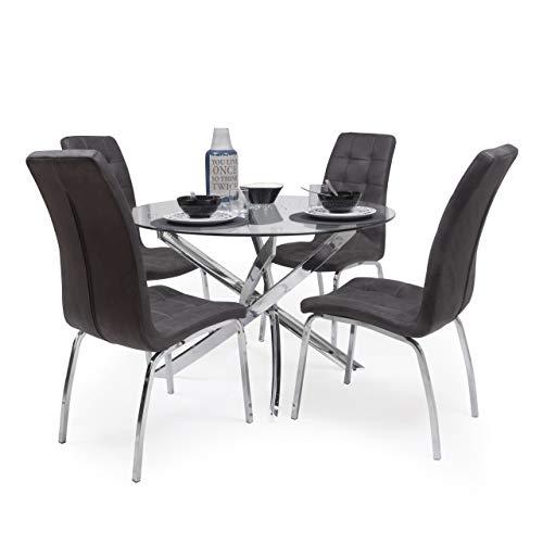 Conjunto de Comedor Dalila Mesa Redonda de Cristal de 110 cm de diámetro y 4 sillas de Polipiel y Patas de Acero (Gris Vintage)