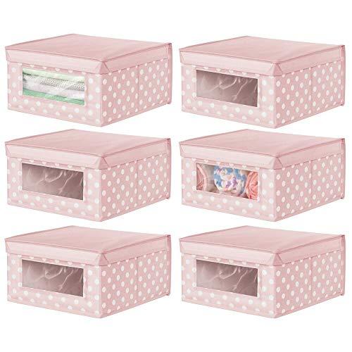 mDesign 6er-Set Aufbewahrungsbox aus Stoff mit Pünktchen – stapelbare Stoffbox zur Ablage von Kinderkleidung und Babybedarf – Aufbewahrungskiste mit Deckel und Sichtfenster – rosa und weiß