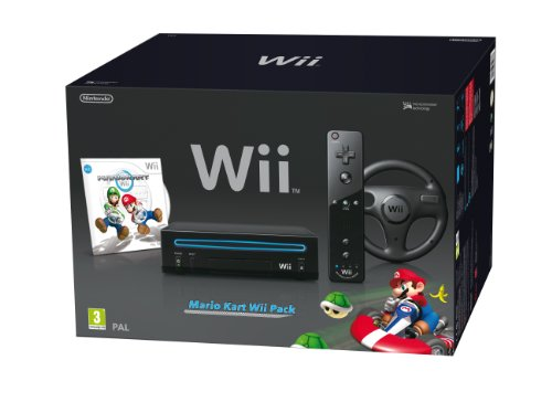 Console Wii black + Mario Kart + Wii Remote Plus + Wii Wheel [import anglais]
