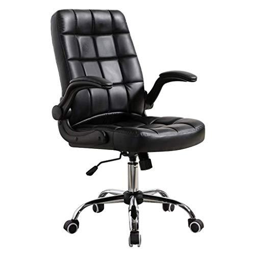 WSDSX Ergonomischer Stuhl Computer Drehstuhl Büro Schreibtisch Aufgabe Startseite Wasserdichtes Kunstleder mit Klapparmen Verstellbare Arbeit Besprechung Empfang Arbeitszimmer Executive Ergon