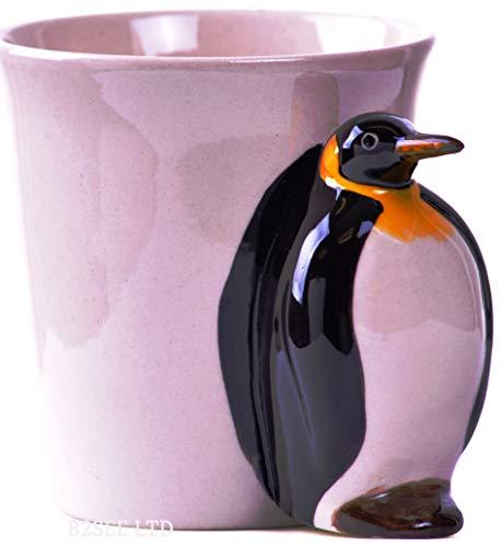 Pinguin Tier Tasse Becher 3D Keramik als Geschenk mit Pinguin für Tierfreunde Tierliebhaber