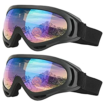 COOLOO Ski Goggles Pack of 2 Snowboard Goggles for Kids Boys & Girls Youth Men & Women with UV 400 Protection Wind Resistance Anti-Glare Lenses
