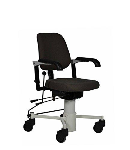 DEVITA Pflegestuhl Transportstuhl Trippelstuhl mit Rollen und elektrisch höhenverstellbar bis 125 kg