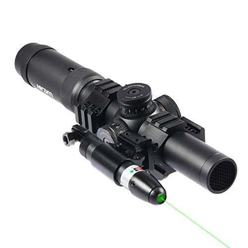 HIRAM Scope Combo 1-5x24 SFP Rifle Sight with Green Laser for 20mm Picatinny or Weaver Rail Long Guns & Handguns, Spotting Scope for Airsoft BB Pellet Guns Shotguns, Rifle Scope