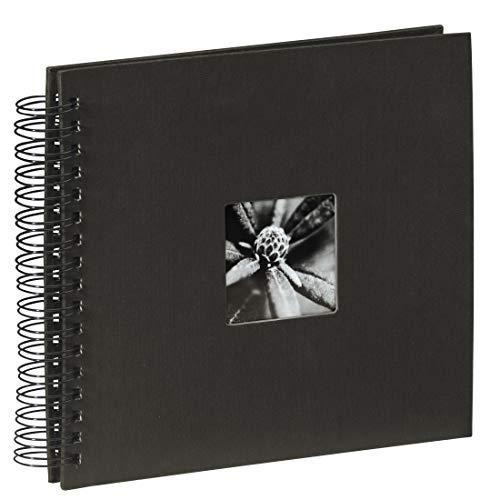 Hama Fine Art - Álbum de fotos, 50 páginas negras (25 hojas), álbum con espiral, 28 x 24cm, con compartimento para insertar foto, negro
