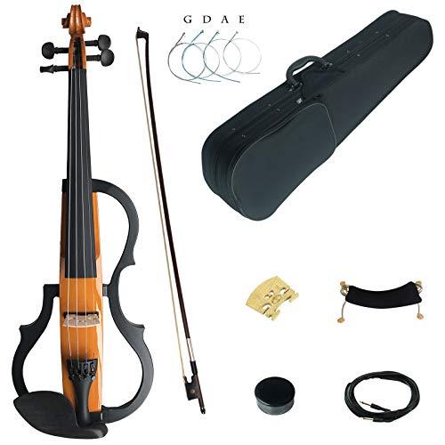 Kinglos 4/4 Colorato In Legno Massello 3-Band-EQ Elettrica/Silenzioso Violino Kit Raccordi Ebano - SDDS1804