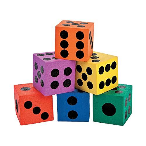 Fun Express - Foam Dice Assortment - Toys - Games - Indoor & Mini Game Sets - 12 Pieces