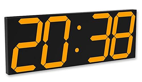 時計 デジタル led 電波、オフィスビル超大型led時計 掛け時計 デジタル時計 覚まし壁掛け多機能温度計輝度調整可能、自宅/屋外/公共の場所に適しています 44.7 X 16 X 2CM (Color : 黄)