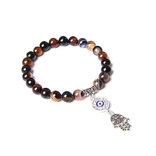 Niuaiwai handgefertigtes Armband aus natürlichem Lotus-Ohm-Buddha-Perlen, rosa Zebra-Stein, Lotus-Charm-Armband für Damen und Herren, Yoga-Schmuck, Geschenke, brauner Achat, 17 cm
