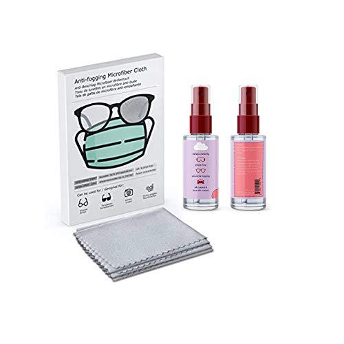 Brillen-Antibeschlag-Spray 60/120 ml - Hilft gegen Beschlagene Brille Brillen Antibeschlagspray + Antibeschlag Microfaser Brillenputztuch für Brillen | Bis zu 250 Mal Wiederverwendbar (60ML)