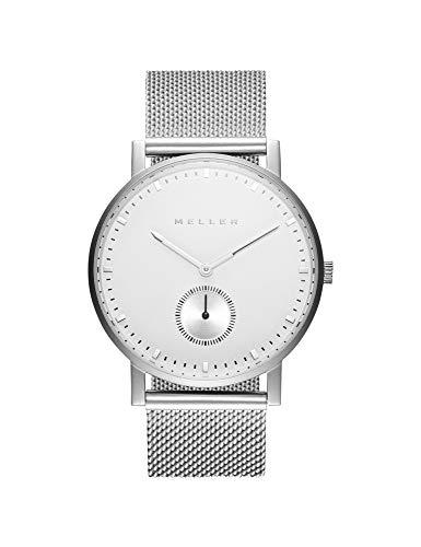 Meller Unisex Erwachsene Analog Quarz Uhr mit Edelstahl Armband 2P-2SILVER