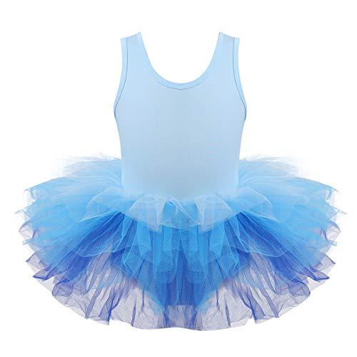 Yeahdor Maillot de Ballet Mono para Niñas Falda Tutu Chaleco con Cuello Redondo Chaleco Traje de Danza Vestido Princesa Azul 7-8 años