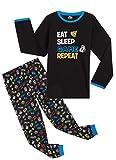 CityComfort Pijama Niño de Videojuegos, Pijamas Invierno Niños, Pijama Largo de Algodon para Chicos de 5 hasta 14 Años, Regalos para Niños y Adolescentes (9-10 años, Negro)