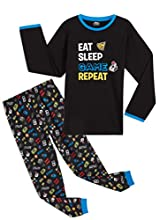 CityComfort Pijama Niño de Videojuegos, Pijamas Invierno Niños, Pijama Largo de Algodon para Chicos de 5 hasta 14 Años, Regalos para Niños y Adolescentes (11-12 años, Negro)