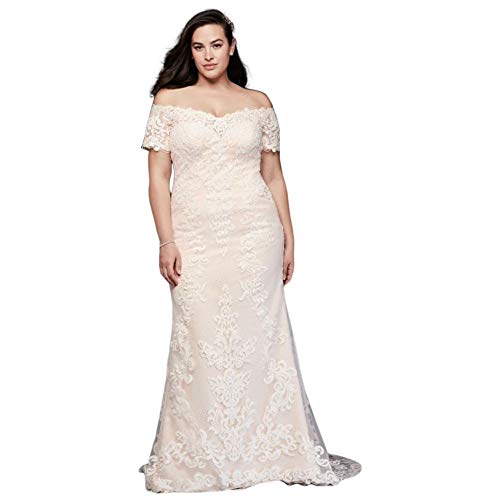 Off The Shoulder Lace Plus Size Wedding Dress Style 9V3958, Ivory, 20W