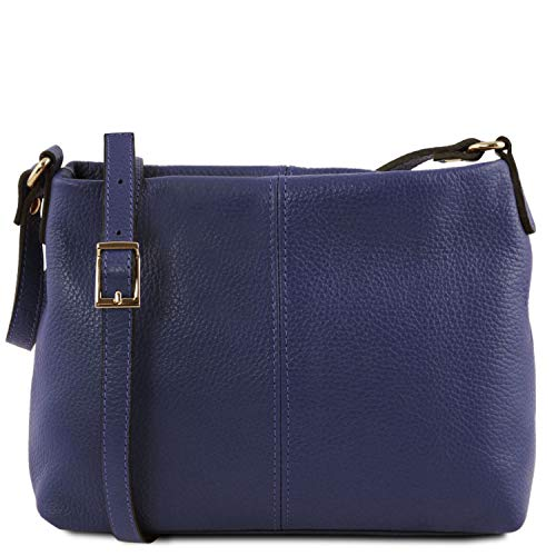 Tuscany Leather TLBag Borsa a tracolla in pelle morbida Blu scuro