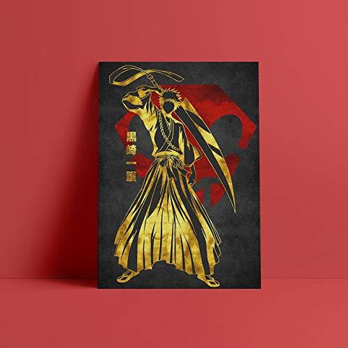 Ichigo Kurosaki cartel dorado lienzo pared arte decoración impresiones para vivir chico niños habitación hogar dormitorio decoración pintura-Pintura de Diamante 5D de bricolaje-Regalo de Navidad
