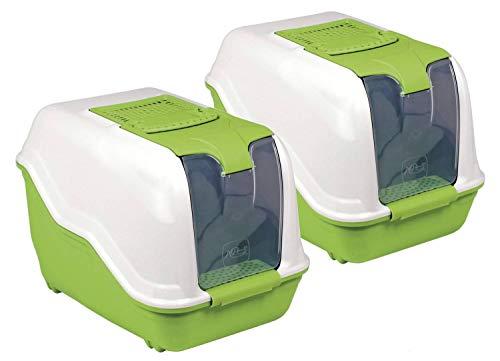 2er Sparpack XXL Katzentoilette Netta Maxi Weiss-grün mit gratis Katzenspielzeug