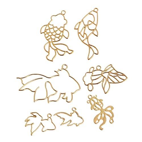 7 piezas Goldfish colección de marco de metal colgante bisel abierto ajuste de resina UV kit de herramientas de joyería de joyería de menos de 10