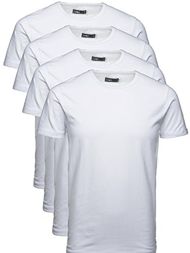 JACK & JONES Herren T-Shirt Basic 4er PACK O-Neck Tee (L, 4er O-NECK Weiss)