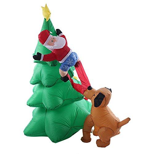 Decdeal 1.8 m/70in Gonfiabile Albero di Natale Babbo Natale Cane Decorazioné Decorazioni Ornamenti AC100-240V