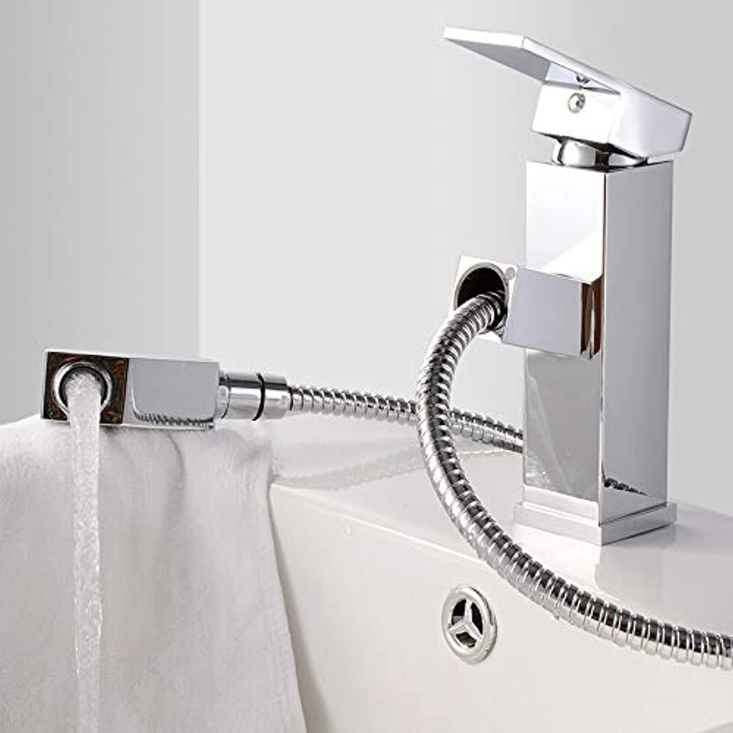 ROKTONG Sink Taps Filter Taps Bathroom Basin Pull Faucet Copper Body Faucet Multi-Function Pullable Hot And Cold Water Faucet redating Basin Faucet