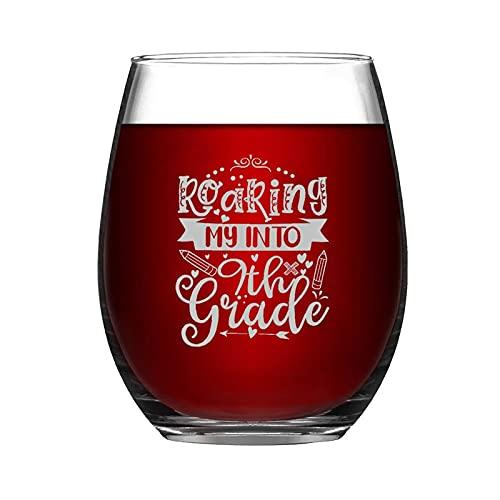 Roaring My Into - Copa de vino sin tallo de 9º grado, 15 onzas, diseño de copa de vino de noche, ideas para crismes, día de Acción de Gracias, día del padre, amiga, mamá, marido, esposa, novia.