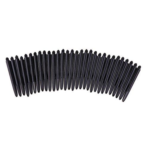 Sharplace 30 Stück 2BA Dartschäfte Kunststoff Darts Shafts, Farben Wählbar - Schwarz