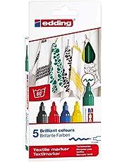 edding 4500-5S - Caja de 5 marcadores textiles, trazo 2-3 mm, colores surtidos