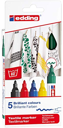 4500-5S edding - 5 textile markers box, 2-3 mm line, assorted colors