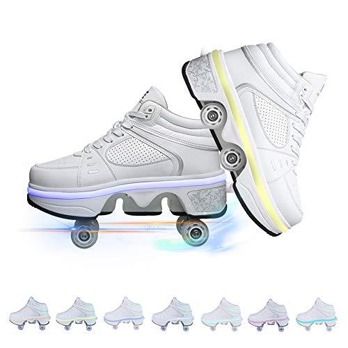 GGOODD Deformación Patines Invisibles Cuatro Rondas de Correr Calzado Automático Informal Calzado Multiusos 2 en 1 Calzado Deportivo Unisex para Exterior Calzado para Caminar con Luz LED,33