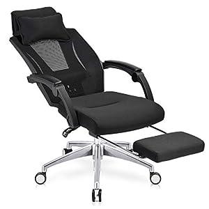 RayGoo オフィスチェア デスクチェア オットマン付き ハイバック 170度 リクライニング メッシュ コンパクト 可動式アームレスト 通気性 椅子 腰サポート クッション 360度回転 可動式枕 日本語説明書が付き