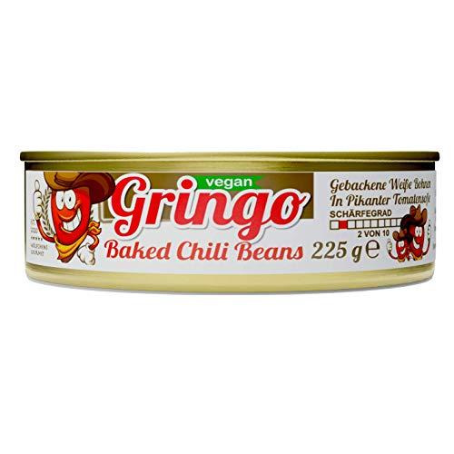 Schlump-Chili⎪BAKED GRINGO CHILI BEANS⎪Gebackene Weiße Bohnen mit pikanter Tomatensoße in der Dose (1 x 225g)