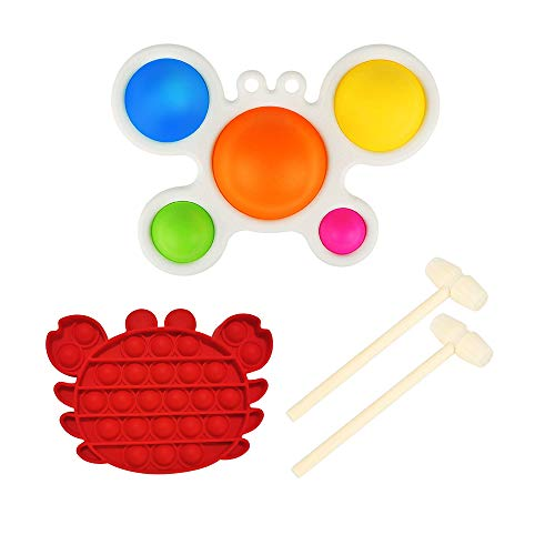Kyczr Crab Simple Dimple Shape Fidget Toy, Dimpl Popper Toy Pack with 1 Crab Shape Push Pop Bubble Fidget Sensory Toy AndTwo Wooden Mallet, As a Children of Toys Ideal