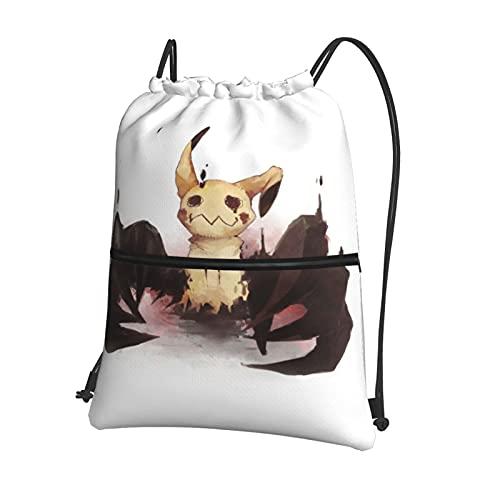 Anime Mimikyu - Bolsa de gimnasio con cordón y bolsillo interior con cremallera, bolsa de viaje deportiva repelente al agua, mochila ligera para hombres y mujeres