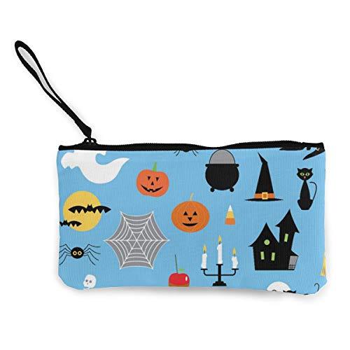 Wrution Halloween Clipart Vector Image Personalisierte Canvas Münzbörse Tasche Reißverschluss kleine Geldbörse weiblich tragbar große Kapazität