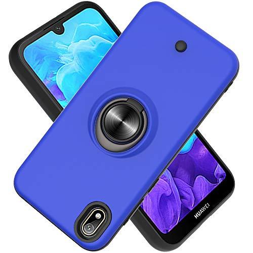 Coque Huawei Y5 (2019)/Honor 8S/Honor Play 3E,Bouton de décompression,Gyroscope Rotatif,PC + TPU Housse résistant aux Chocs avec Support à Anneau Rotatif à 360 degrés -Bleu Marin