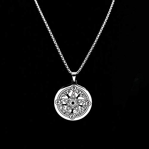 LBBYMX Co.,ltd Necklace Fashion Pentagram Stainless Steel Necklace Women Silver Color Amulet Witchcraft Necklaces Jewelry Gift Chokers 50Cm