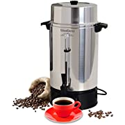 West Bend 33600 Highly Polished Aluminum Commercial Coffee Urn Features Automatic Temperature Control Large Capacity with Quick Brewing Smooth Prep and Easy Clean Up NSF Certified, 100-Cup, Silver
