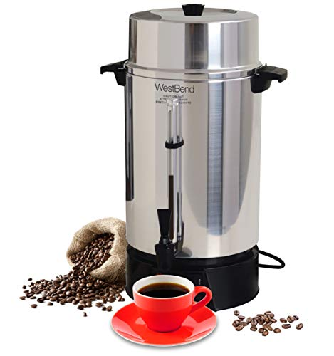 West Bend 33600 Highly Polished Aluminum Commercial Coffee Urn Features Automatic Temperature Control Large Capacity with Quick Brewing Smooth Prep...