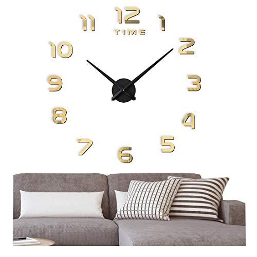 FAS1 Moderno DIY Reloj De Pared Grande Big Reloj Adhesivo 3D Pegatinas Decorativas Efecto De Espejo Acrílico Reloj De Pared Home Office Decoración Extraíble (Batería No Incluida) Dorado