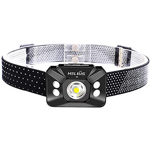 Helius LEDヘッドライト USB充電式 誘導スイッチ 角度調節可能 500ルーメン防水作業灯