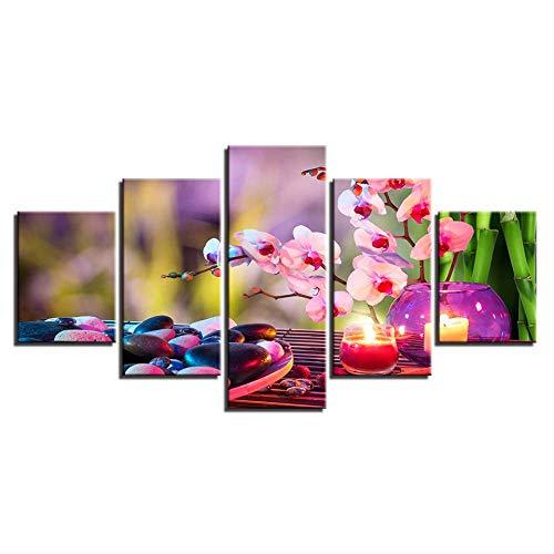 Hd Prints Afbeeldingen kamers muurkunst 5 stuks lila motte orchidee kaars schilderij wooncultuur canvas bloemen stenen  poster 30x40cmx2,30x60cmx2,30x80cmx1 Met frame.