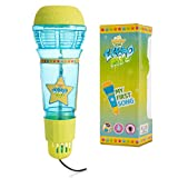 Echo Mic for Kids and Toddlers - Magic Microphone with Multicolored Flashing Light and Fun Rattle - Blue and Yellow Speech Therapy Feedback Toy - Retro Gift For Boys and Girls Who Love Singing, Music